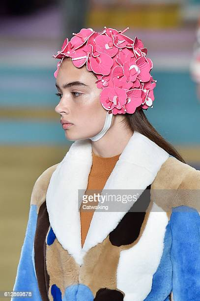 Accessories detail on the runway at the Miu Miu Spring Summer 2017 fashion show during Paris Fashion Week on October 5 2016 in Paris France