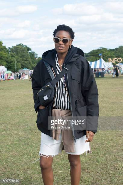 Accessories Editor at Elle Uk Donna Wallace wears Sorel boots Herschel bag Malene Birger shirt on day 4 of Wilderness Festival on August 6 2017 in...