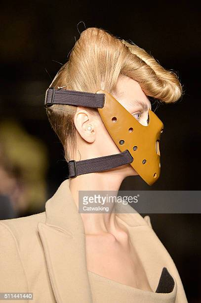 Accessories face mask on the runway at the Gareth Pugh Autumn Winter 2016 fashion show during London Fashion Week on February 20, 2016 in London,...