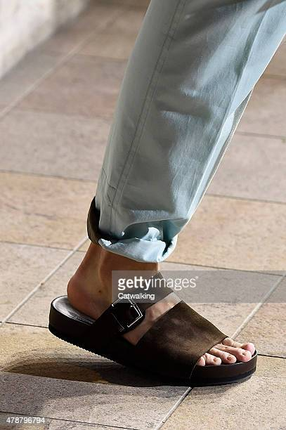 Accessories footwear detail on the runway at the Hermes Spring Summer 2016 fashion show during Paris Menswear Fashion Week on June 27 2015 in Paris...