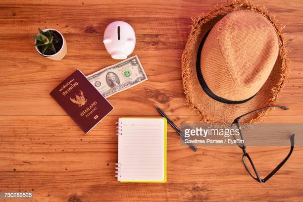 Accessories For Travel On Wooden Table