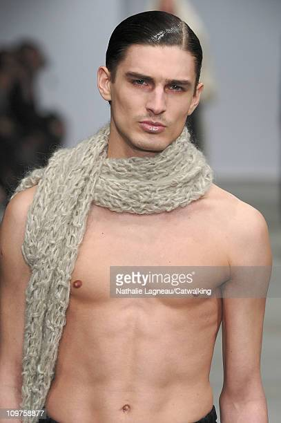 Accessories scarf detail on the runway at the Josephus Thimister fashion show during Paris Fashion Week on March 1 2011 in Paris France