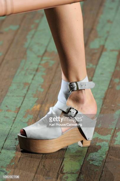Accessories shoe detail on the runway at the 3.1 Phillip Lim Spring Summer 2011 fashion show during New York Fashion Week at on September 10, 2010 in...
