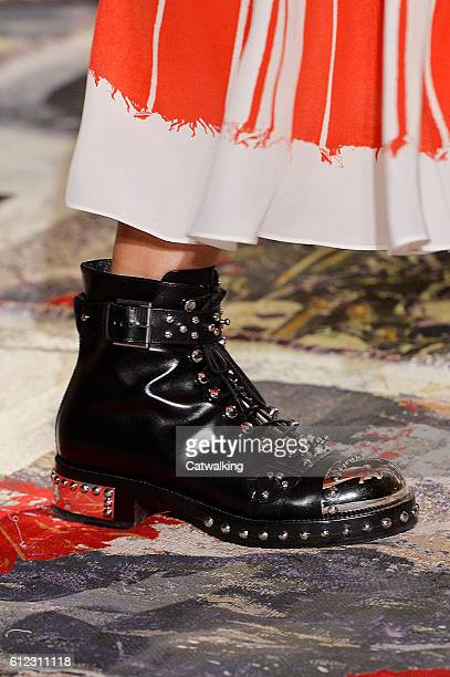 Accessories shoe detail on the runway at the Alexander McQueen Spring Summer 2017 fashion show during Paris Fashion Week on October 3, 2016 in Paris,...