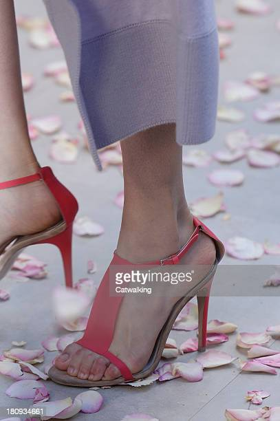 Accessories shoe detail on the runway at the Burberry Prorsum Spring Summer 2014 fashion show during London Fashion Week on September 16, 2013 in...
