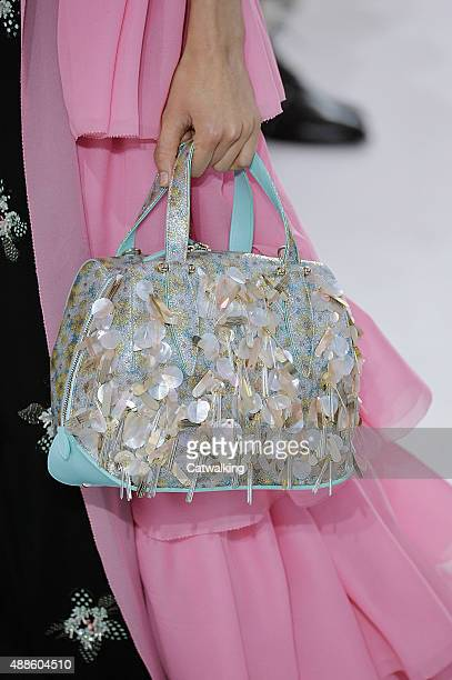 Accessories shoe detail on the runway at the Delpozo Spring Summer 2016 fashion show during New York Fashion Week on September 16, 2015 in New York,...