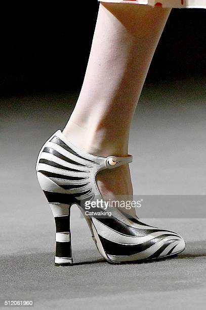 Accessories shoe detail on the runway at the Gucci Autumn Winter 2016 fashion show during Milan Fashion Week on February 24 2016 in Milan Italy