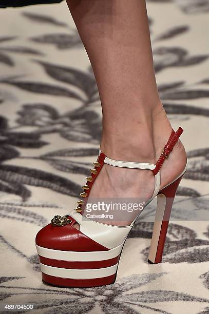 Accessories shoe detail on the runway at the Gucci Spring Summer 2016 fashion show during Milan Fashion Week on September 23 2015 in Milan Italy