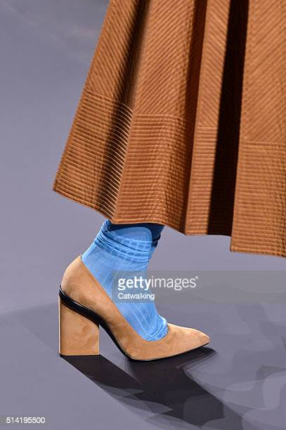 Accessories shoe detail on the runway at the Hermes Autumn Winter 2016 fashion show during Paris Fashion Week on March 7 2016 in Paris France