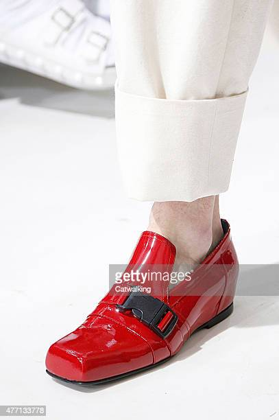 Accessories shoe detail on the runway at the JW Anderson Spring Summer 2016 fashion show during London Menswear Fashion Week on June 14 2015 in...
