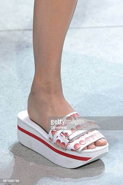 Accessories shoe detail on the runway at the Lacoste Spring Summer 2016 fashion show during New York Fashion Week on September 12 2015 in New York...