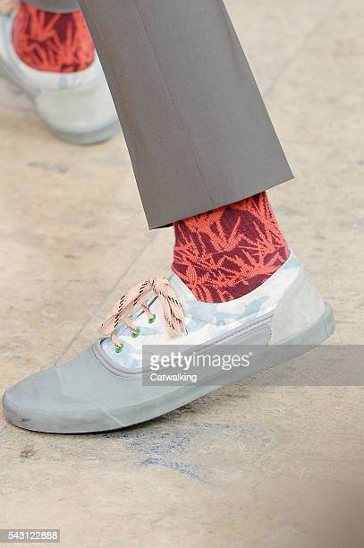 Accessories shoe detail on the runway at the Lanvin Spring Summer 2017 fashion show during Paris Menswear Fashion Week on June 26, 2016 in Paris,...