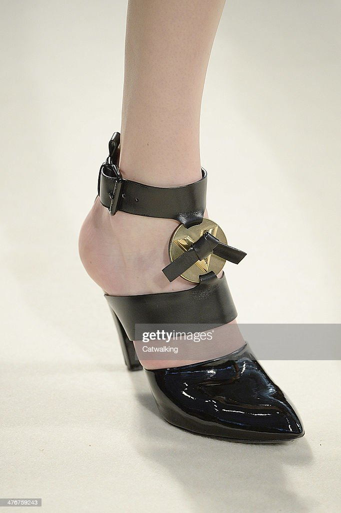 Accessories shoe detail on the runway at the Louis Vuitton Autumn Winter 2014 fashion show during Paris Fashion Week on March 5, 2014 in Paris, France.