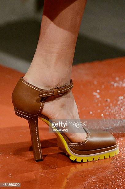 Accessories shoe detail on the runway at the Marni Autumn Winter 2015 fashion show during Milan Fashion Week on March 1, 2015 in Milan, Italy.