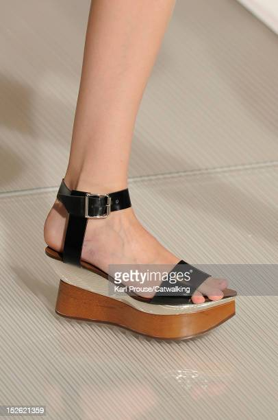 Accessories shoe detail on the runway at the Marni Spring Summer 2013 fashion show during Milan Fashion Week on September 23, 2012 in Milan, Italy.