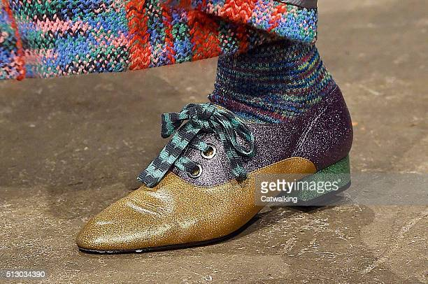 Accessories shoe detail on the runway at the Missoni Autumn Winter 2016 fashion show during Milan Fashion Week on February 28 2016 in Milan Italy
