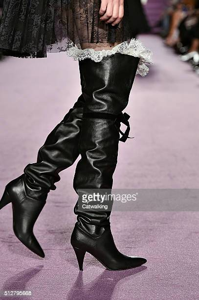 Accessories shoe detail on the runway at the Philosophy di Lorenzo Serafini Autumn Winter 2016 fashion show during Milan Fashion Week on February 27...