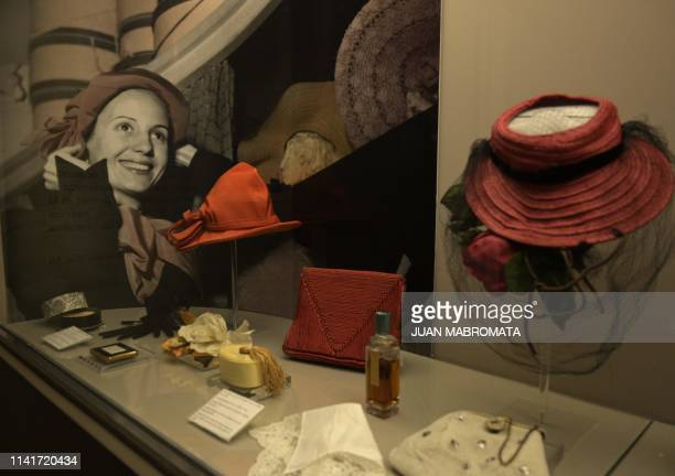Accessories that belonged to former Argentina's First Lady Eva Peron are exhibited at the Evita Museum in Buenos Aires on May 6 2019 May 7th marks...
