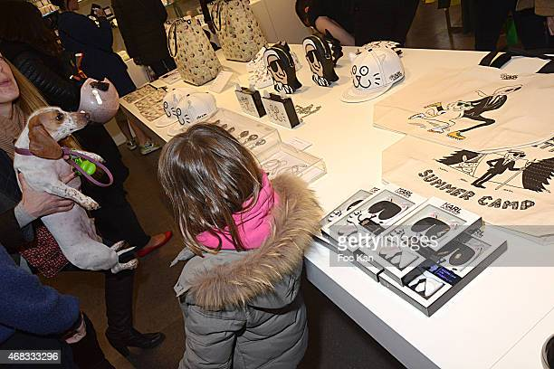 Accessories with effigies of Karl Lagerfeld and his cat Choupette are exhibited during The Tiffany Cooper For Karl Lagerfeld At Colette on April 1...