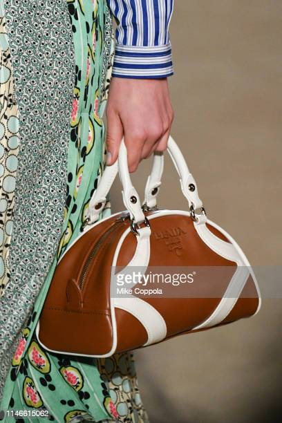 Accessory detail of Prada handbag held by a model walking the runway during the Prada Resort 2020 Collection on May 02 2019 in New York City