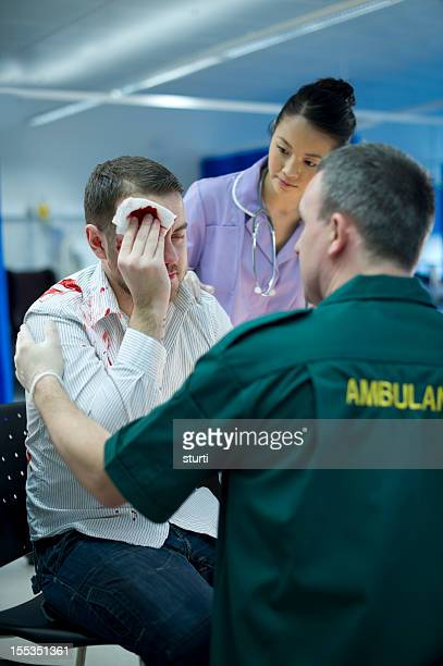 accident and emergency - head bandage stock photos and pictures