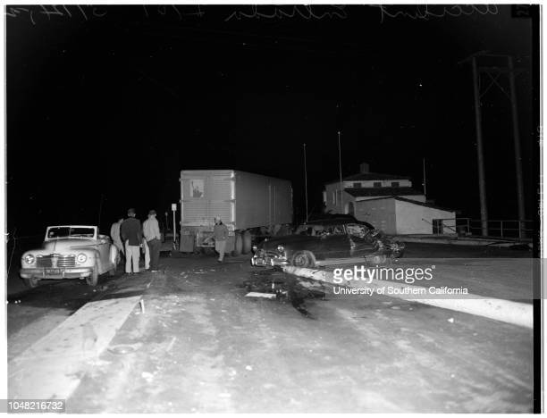 Accident at Entrada Drive and 101 West Pacific Coast Highway 12 March 1952 Views of sedan and truck in accident West Pacific Coast Highway 101seven...