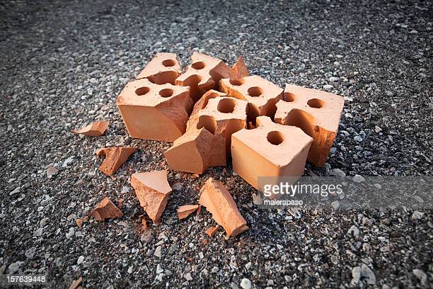 accident. broken brick. - house collapsing stock pictures, royalty-free photos & images