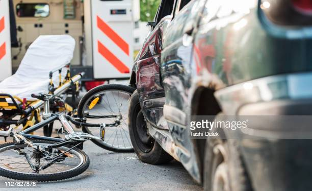 accident car crash with bicycle on road - crash stock pictures, royalty-free photos & images