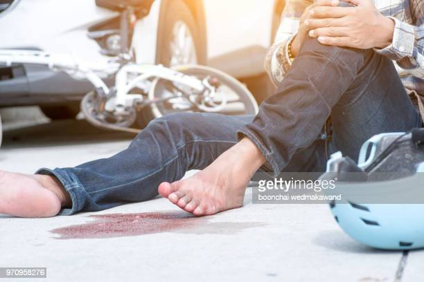 accident car crash with bicycle on road - motorcycle accident stock pictures, royalty-free photos & images