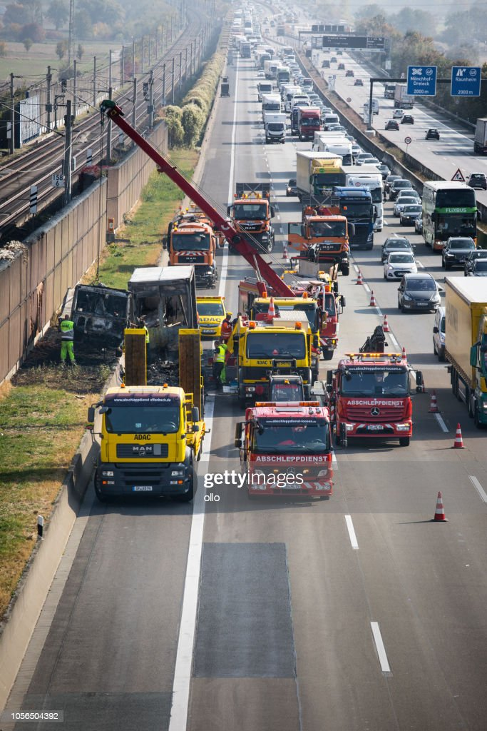 Accident Clearance And Traffic Jam On German Highway A3 Stock Photo