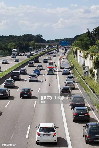 Accident german highway road block ambulance