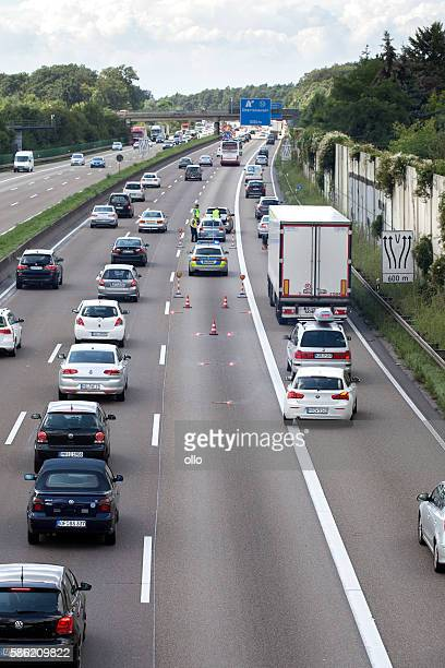 Accident german highway road block police