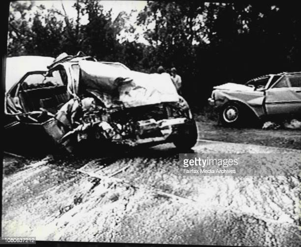 Accident scene.Two cars were involved in a horrific accident on Mona Vale road, Mona Vale where Joan Wilson died, and her daughter, Janette was badly...