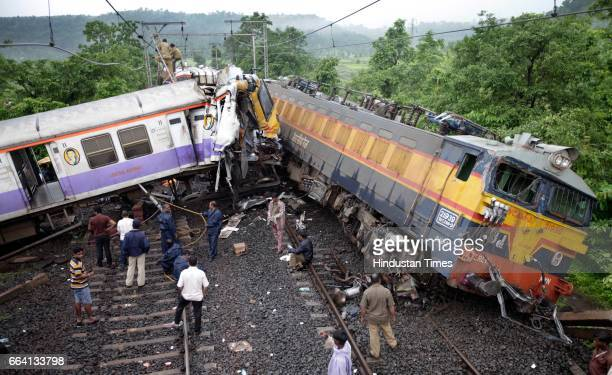Accident site where on Friday morning after Vidarbha Express engine collided with derailed bogeys of a local train at Kasara in Mumbai India