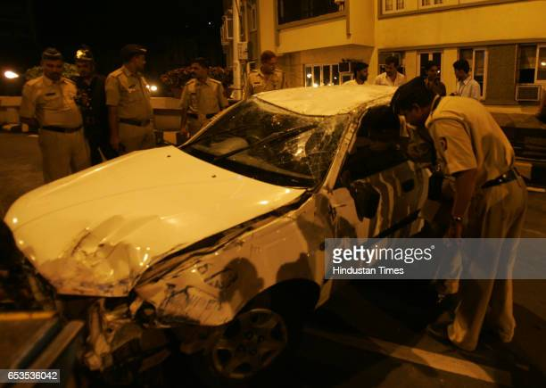 Accidents Police constables look at the Accent car that overturned after the driver lost control over the vehicle on Saturday early morning on the...