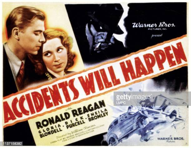 Accidents Will Happen lobbycard from left Ronald Reagan Gloria Blondell 1938
