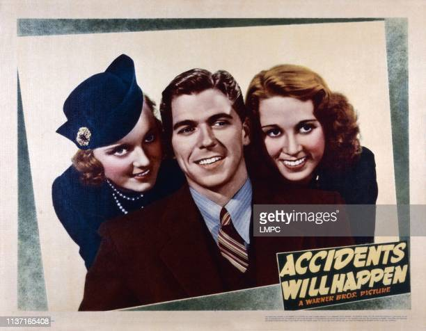 Accidents Will Happen US lobbycard from left Sheila Bromley Ronald Reagan Gloria Blondell 1938