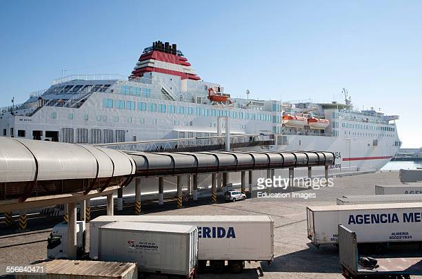 Acciona Trasmediterranea ferry terminal for Melilla at port of Malaga Spain
