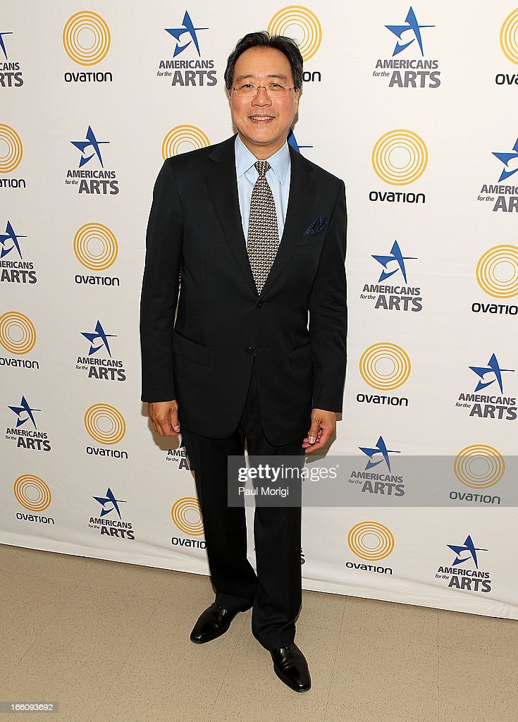 Acclaimed artist and arts educator Yo-Yo Ma poses for a photo backstage at The Nancy Hanks Lecture on Art and Public Policy sponsored by Ovation at John F. Kennedy Center for the Performing Arts on April 8, 2013 in Washington, DC.