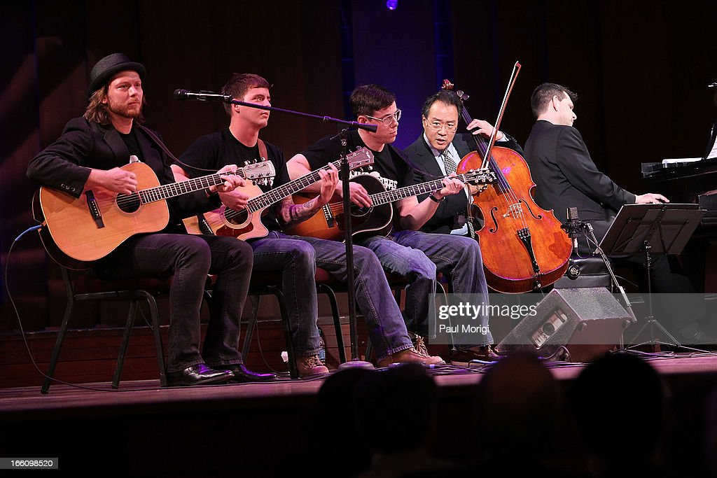Acclaimed artist and arts educator Yo-Yo Ma, second from right, performs with MusiCorps at The Nancy Hanks Lecture on Art and Public Policy sponsored by Ovation at John F. Kennedy Center for the Performing Arts on April 8, 2013 in Washington, DC.
