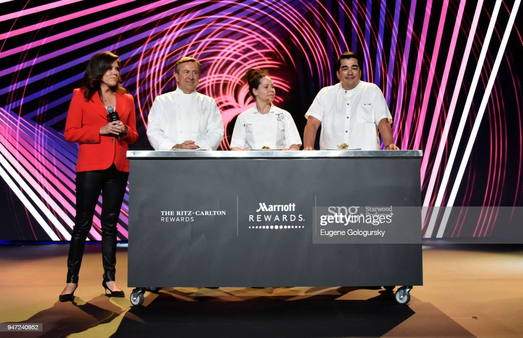 Acclaimed Chefs Daniel Boulud, Stephanie Izard, and Jose Garces with Michele Tafoya (L) and Senior Vice President of Global Loyalty at Marriott International David Flueck (R) discussing how travel inspires their recipes during the Marriott International Loyalty Member Preview Event at Spring Studios on April 16, 2018 in New York City. Marriott announced the expansion of its experiences platform Moments, which includes exclusive Keith Urban moments for members, as well as the unification of its three loyalty programs - Marriott Rewards, SPG and The Ritz-Carlton Rewards.