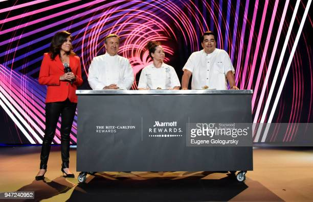 Acclaimed Chefs Daniel Boulud Stephanie Izard and Jose Garces with Michele Tafoya and Senior Vice President of Global Loyalty at Marriott...