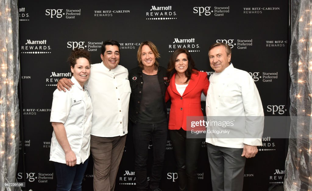 Acclaimed chefs Stephanie Izard and Jose Garces, singer-songwriter Keith Urban, Sportscaster Michele Tafoya, and acclaimed chef Daniel Boulud at the Marriott International Rewards Members Event at Spring Studios s on April 16, 2018 in New York City. At the event, Marriott announced to its 110 million members, the unification of the Marriott Rewards, The Ritz-Carlton Rewards, and SPG and the expansion of its experiences platform Moments, to over 110,000 across 1,000 cities.