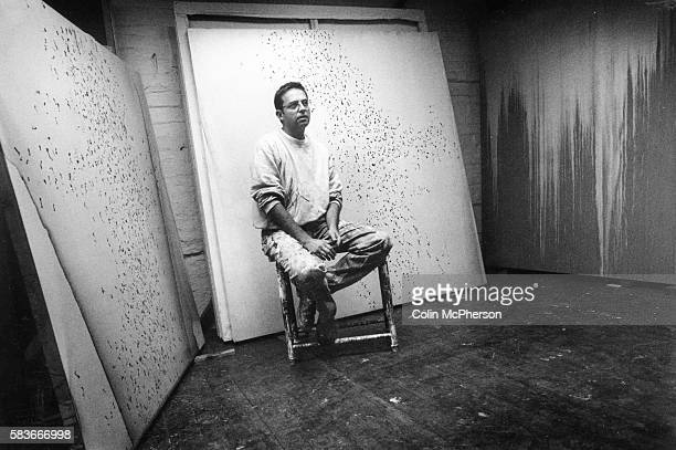 Acclaimed Scottish abstract painter and former Turner Prize nominee Callum Innes pictured at his studio in Edinburgh Scotland Innes was born in...