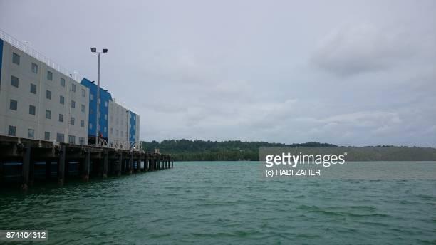 Accommodation ship docked on Manus island