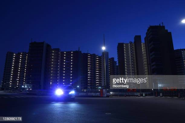 Accommodation towers in the Athlete Village for the now-postponed Tokyo 2020 Olympic Games in Tokyo, Japan, on Thursday, Jan. 14, 2021. While Japans...