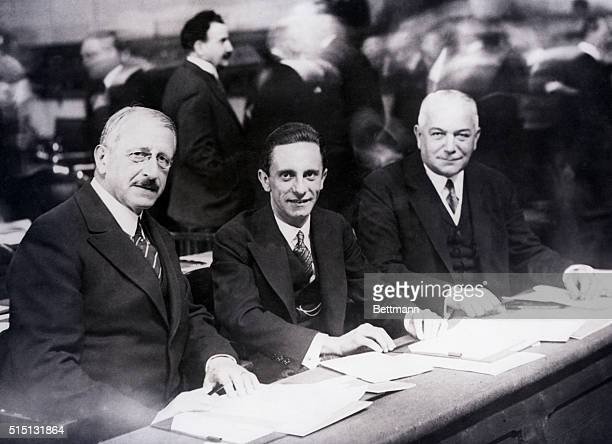 10/2/1933 Accompanied by a strongarm squad and a delegation of Nazis Dr Goebbels third member of the Big Three in Berlin reaches Geneva for the...