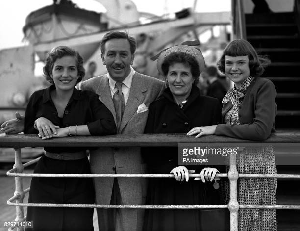 Accompanied by his wife and daughters Diane 16 and Sharon 13 Hollywood film producer Walt Disney arrives at Southampton aboard the Cunard White Star...
