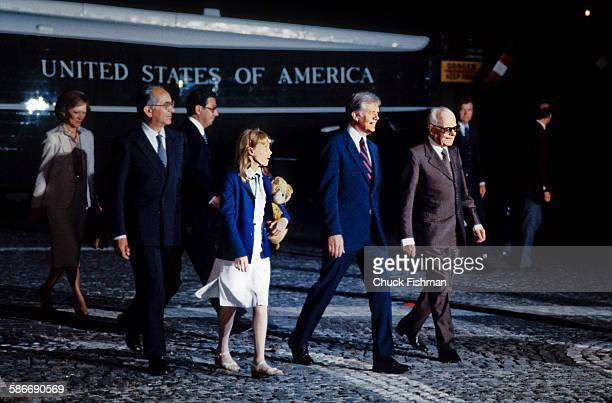 Accompanied by Italian President Sandro Pertini American politician and US President Jimmy Carter First Lady Rosalynn Carter and the couple's...