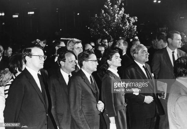 Accompanied by others American former First Lady Jacqueline Bouvier Kennedy arrives at St Patrick's Cathedral New York New York June 6 1966 Mrs...